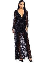 Long Sleeve Split Sequined Dress