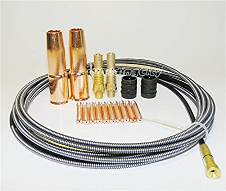 """MIG Welding Gun Kit .030/"""" Tip-Diffuser-Nozzle-Liner for Lincoln 200 Tweco #2 M6L"""