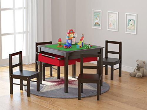 UTEX Child's Wooden Chair Pair for Play or Activity, Set of 2, Espresso by UTEX (Image #4)
