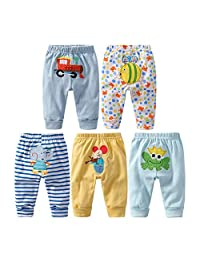 Monvecle Unisex Baby 5 Pack Newborn to Toddler Cotton Long Pants and Shorts Gift Set