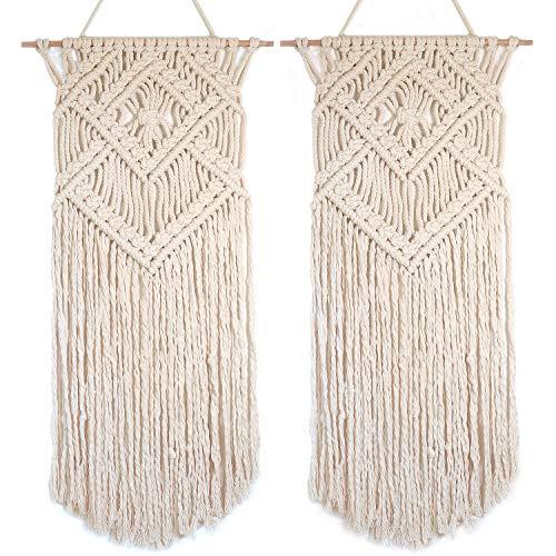 "- Barnyard Designs Macrame Wall Hanging Fringe Woven Wall Tapestry Boho Chic Bohemian Decor, Diamond Weave 31"" x 16"", 2 Pack (2, Diamond Weave)"