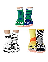 Werewolf & Zombie, Snake and Mouse, Robots Mismatched Kids Socks Pack, Kids Ages 4-8