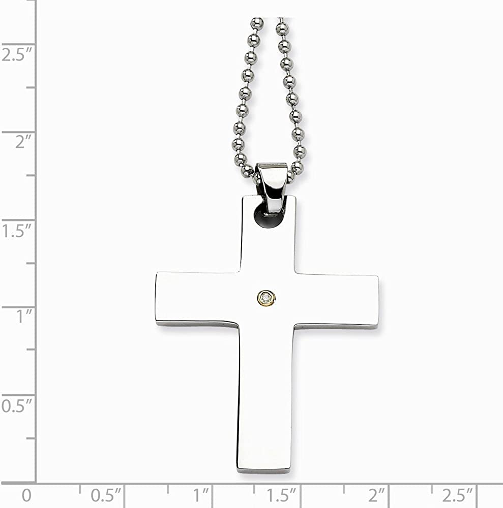 Brilliant Bijou Stainless Steel 14k Accent w// 2 pt Diamond Cross Crucifix Necklace