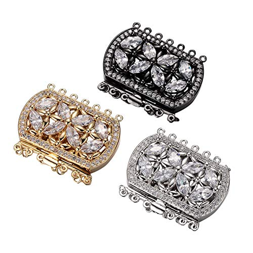 - PH PandaHall 2 Sets Brass Cubic Zirconia Box Clasps Mixed Color Multi-Strand Box Clasps Rectangle Push Pull Box Clasps for Necklace Bracelet Jewelry Findings 34x43x9mm 1.5mm 2.5mm Hole