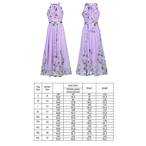 Largo Imprimirpúrpura Flor Cuello Providethebest Vestido Vestido Cabestro 4XL Mangas Maxi Floral sin Mujeres wIpqqTA