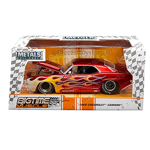JADA 1:24 W/B - METALS - BIGTIME MUSCLE - 1969 CHEVROLET CAMARO DIECAST RED 99085-MJ (1969 Camaro Model Car Kit)