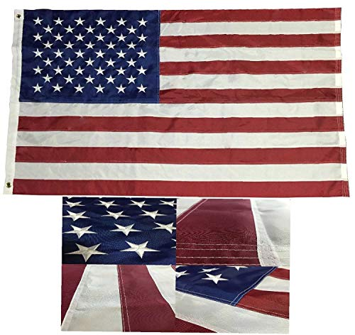ALBATROS 3 ft x 5 ft Embroidered American Flag USA 220-D Nylon Flag, Stars - Durable Long Lasting for Home and Parades, Official Party, All Weather Indoors Outdoors