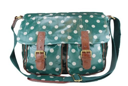 Dots Shoulder Dots Dark Green School Floral Hand Satchel Messenger Polka Polka Bag Oilcloth Ladies a1wTYOqg