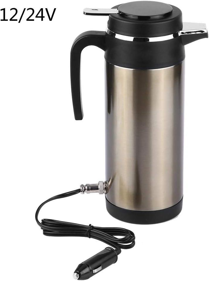 Jadeshay Hervidores De Agua Electrico - Termos de Viaje eléctricos de Acero Inoxidable Caldera para el automóvil Calefacción de la Botella de Agua 1200ML 12V / 24V (Edición : 24V)