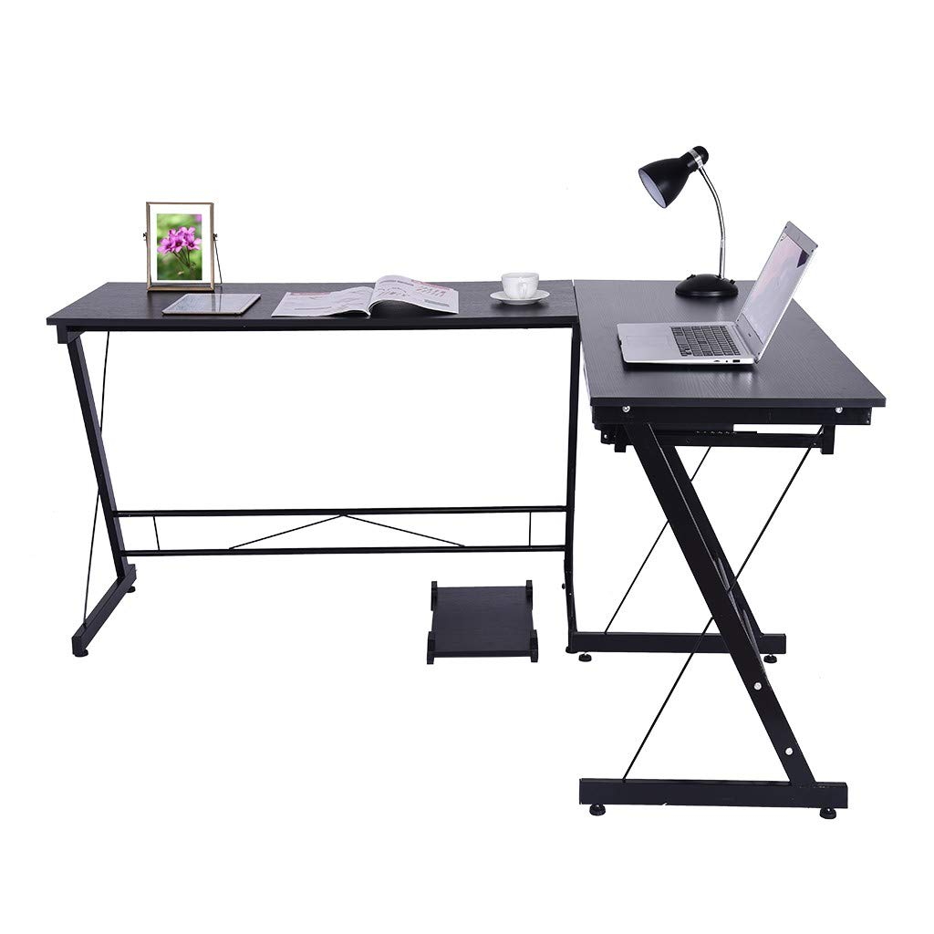 Hstore Shaped Desk Corner Computer Desk- Corner Desk PC Workstation Table with Monitor Stand for PC Laptop, Steel Wood Study Desk Placed Keyboard for Home Office (US Stock)