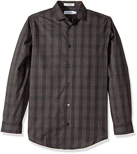 Calvin Klein Big Boys' Long Sleeve Plaid Woven Shirt, Dark Gray, 18