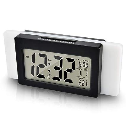 Portable Mini LCD Display Digital Alarm Clock Snooze with Backlight for Bedrooms Living Room Table Desk Car Decor Blue Digital Clock