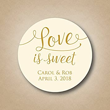 Love is sweet stickers custom wedding favor tags personalized labels thank you stickers candy buffet honey