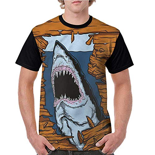 Girls Stella Long Sleeve Tops - Women's Tops Blouses,Shark,Wild Fish Wooden Plank S-XXL Tee Tshirts Women