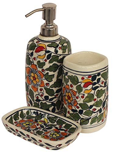 - Crafkart Best Buy 3 Piece Bath Accessory Set Multicolored Ceramic Bathroom Set Soap Dispenser, Tumbler & Soap Dish