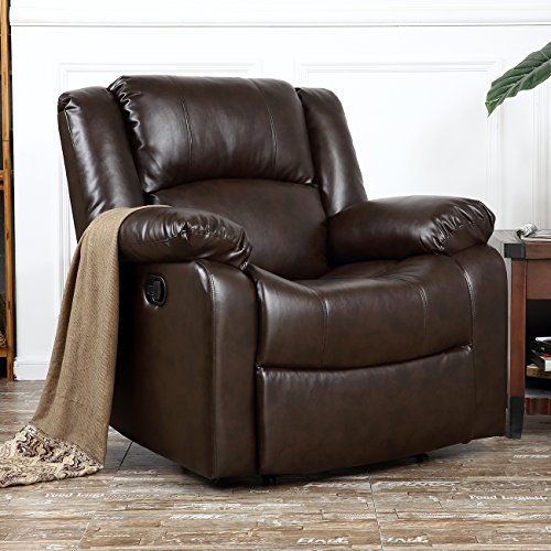 Belleze Deluxe Heavily Padded PU Leather Recliner Chair Lounge Club, Brown (Dual Chaise Lounge)