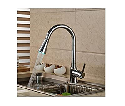BL- Luxury Spring Pull Down Kitchen Sink Mixer Faucet Single Handle Dual Swivel Spout Mixer Taps with LED Light