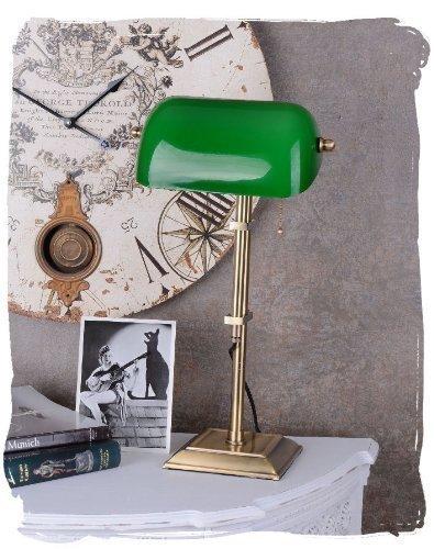 Hohe Bibliothekslampe/Schreibtischlampe/Banker-Lampe/Banker-Leuchte/Pultleuchte, echter Klassiker im Jugendstil mit grünem Glas - Palazzo Exclusive