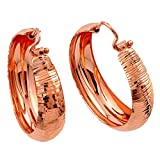 Rose Gold-Tone Plated Sterling Silver Designer Hoop Earrings