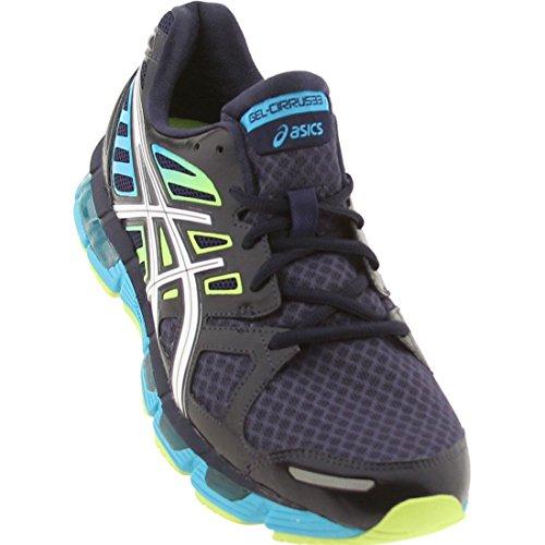 ASICS Men's GEL-Cirrus33 2 Running Shoe,Navy/White Flash Yel