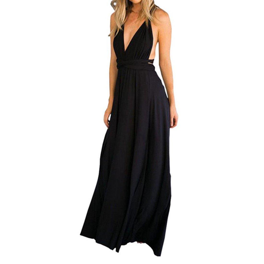 Kleid Damen Kolylong ® Frauen Elegante V-Ausschnitt Bandage Lange Kleid Party Kleid Sommer Backless Strandkleid Abendkleid Sommerkleid