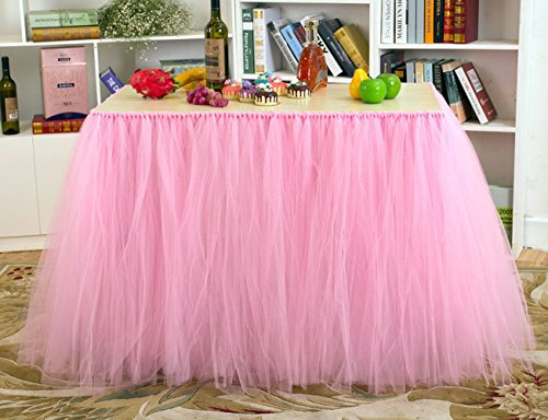 Ribbon Table (Table Skirt Pink Tutu Table Cover for Birthday Wedding Party Decoration Come with 5pcs Adhesive Velcro)