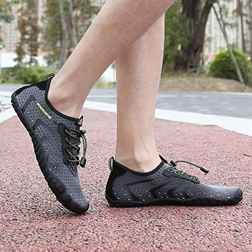 MOERDENG Men Women Water Shoes Quick Dry Barefoot Aqua Socks Swim Shoes for Pool Beach Walking Running (Dark grey) 12 M US Women / 10 M US Men by MOERDENG (Image #9)