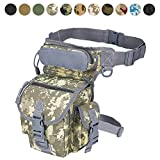 MAXTRA Military Tactical Drop Leg Bag Tool Fanny Thigh Pack Leg Rig Utility Pouch Paintball Airsoft Motorcycle Riding Thermite Versipack, Black Camel