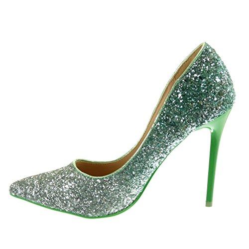 decolleté stiletto Aiguille CM femme Chaussure Escarpin Vert 11 Mode brillant pailettes Talon Angkorly RaxHfIqn