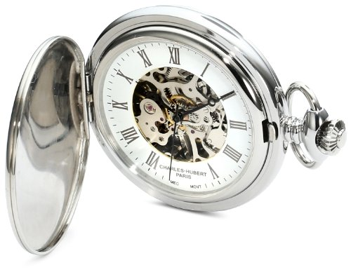 Charles-Hubert, Paris 3918 Premium Collection Stainless Steel Mechanical Pocket Watch