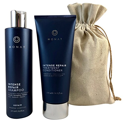 Monat Intense Repair Shampoo and Intense Repair Conditioner with FREE Linen Bag Bundle by Monat