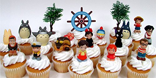 TOTORO and FRIENDS 18 Piece Birthday CUPCAKE Topper Set Featuring 14 Random Totoro and Friends Figures – Decorative Themed Accessories, Figures Average 1″ to 2″ Tall