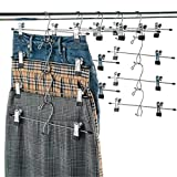 Heavy-Duty Add-On Skirt Hangers with Clips 12 Pack, Multi Stackable Add on Hangers, Adjustable Clip Pants Hanger, Skirt Hanger with Clips, Chrome Hook, Cascading Clip Hanger Jeans, Slacks, Bottoms