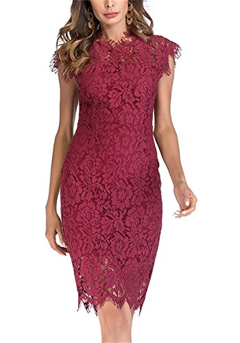 - Women's Sleeveless Floral Lace Slim Evening Cocktail Mini Dress for Party DM261 (M, Wine Red)