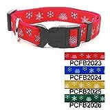 "Red Christmas Snowflake Adjustable Dog Collar 3/4"" Medium"