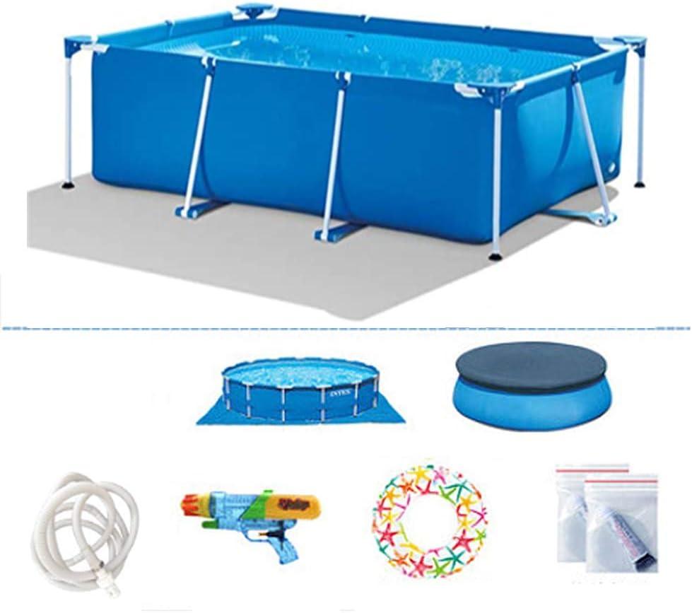 TYP Mall Infantil Deluxe Splash Frame Pool Piscina Desmontable Tubular Capacidad 3834L Buena Tenacidad Protector Solar Y A Prueba De Fugas para Patio Jardín Playa,Azul,220x150x60cm