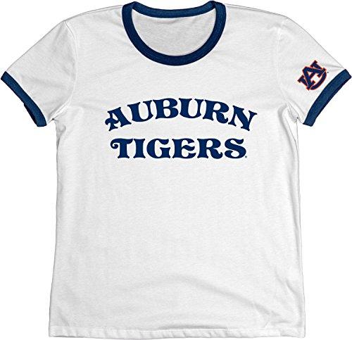 (NCAA Auburn Tigers Adult Women NCAA Women's Vintage Supima Ringer Tee,Medium,Navy)