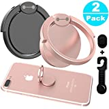 Phone Ring Holder & Stand - 2 Pieces Universal Finger Grip Stand Holder Ring - Car Mount Phone Ring Grip for iPhone / Samsung / Galaxy / iPad / Phone Case (Black/Rose Gold Hero)