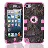 E-fashion Case 3-Pieces Tree Camo Design Hybrid Cover Case Cover for ipod Touch 5 with Screen Protector +Stylus(pink)