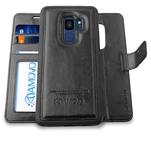 AMOVO Case for Galaxy S9 [2 in 1], Samsung Galaxy S9 Wallet Case [Detachable Wallet Folio] [Premium Vegan Leather] Samsung S9 Flip Case Cover with Gift Box Package (Black, S9)