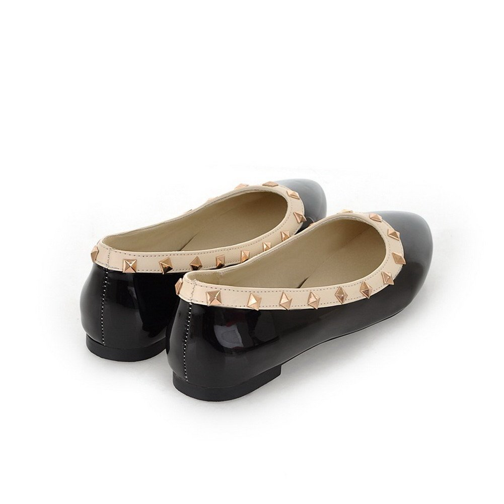 WeenFashion Womens Closed Round Toe Patent Leather PU Solid Flats Whith Rivet