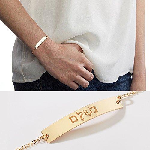 Custom Foreign Language Bar Bracelet-Personalized Chinese, Hebrew, Greek, Korean Name, Custom Engraved-Gold-Rose-Silver-CG321B