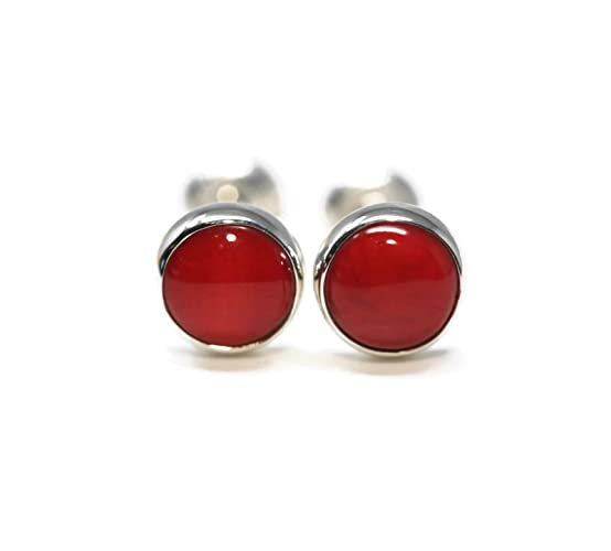 c51e5a589 Amazon.com: Natural Red Coral 925 Sterling Silver 6mm Stud Earrings ...