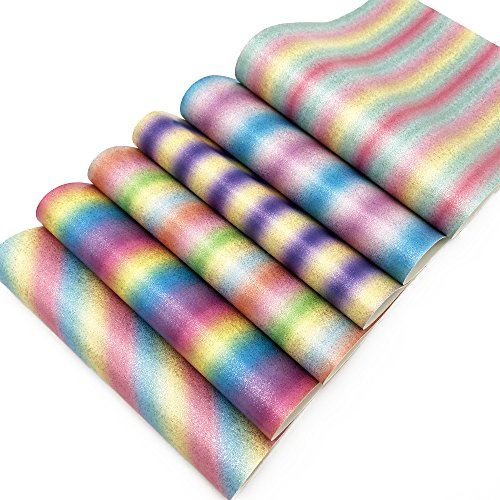 - Gradient Rainbow Color Synthetic Leather Fabric Glitter Inside 6 Pcs 8