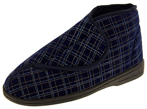 Mens Navy Orthopaedic Slipper Boots 11 D(M) US (Mens Extra Wide Winter Boots compare prices)