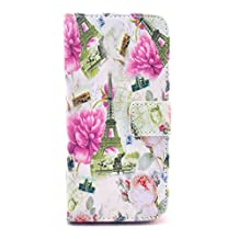 SuperMore YX Excellent Pattern Holster for IPhone5S IPhone 5S 5 5G IPhone5 with PU and TPU inside Cover Magic Button Holder Stander Card hole Protective Phone Case - Many Flowers towers