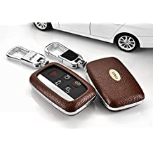 Saibon Protective Genuine Leather Hard Shell Key Fob Remote Entry Case Cover for Land Rover Range Rover (Brown)