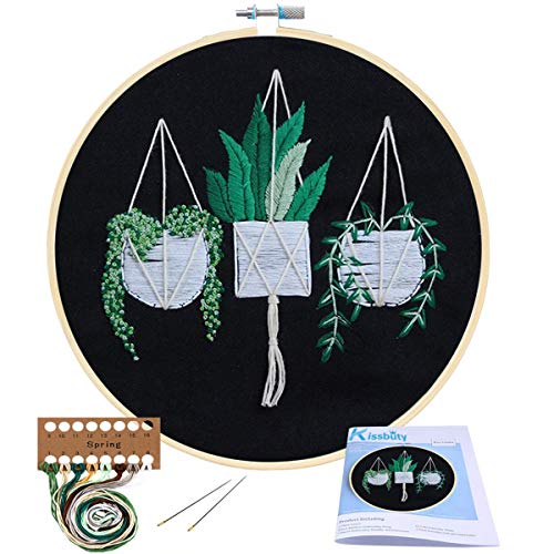 (Full Range of Embroidery Starter Kit with Pattern, Kissbuty Cross Stitch Kit Including Stamped Embroidery Cloth with Pattern, Bamboo Embroidery Hoop, Color Threads and Tool Kit (Hanging Plants))