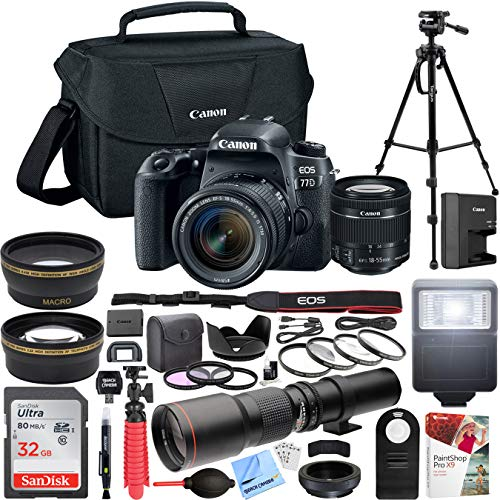 Canon EOS 77D 24.2 MP DSLR Camera with EF-S 18-55mm f/3.5-5.6 Zoom Lens Kit + 500mm Preset f/8 Telephoto Lens + 0.43x Wide Angle, 2.2X, Deluxe Filter Kit Pro Bundle