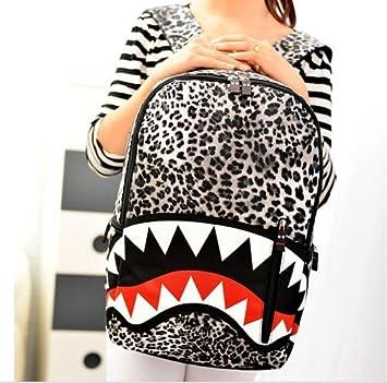 Hot Funny Unisex Boys Girls Leopard Print Monster Mouth Shaped Canvas Shoulder Backpack Cool New Semester